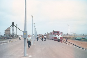 13.11.1967 - Port Pirie - GM 35 on first Ghan to arrive at new Port Pirie station.