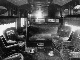 Interior of Joint Stock Sleeping car smoking saloon, circa 1917