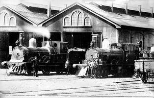 Islington - loco J33 and L39 in front of loco shed