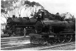,26.10.1963 - loco SAR Rx217 alongside loco 747 on special train - Monarto South,